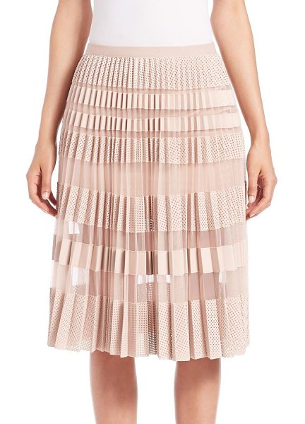 BCBGMAXAZRIA Taura faux-leather mesh skirt in barepink - Equal parts sweet and edgy, this swishy, pleated skirt...