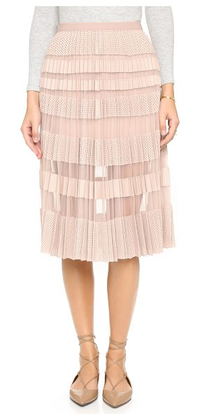BCBGMAXAZRIA Taura pleated skirt in bare pink - Laser cut faux leather stripes add texture and weight to...
