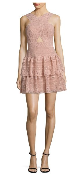 BCBGMAXAZRIA tiered lace halter dress - Tiered lace dress with alluring front cutout....