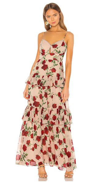 BCBGMAXAZRIA tiered rose print gown in bare pink medium