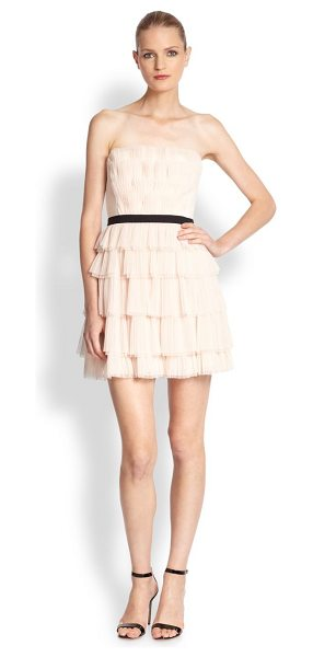 BCBGMAXAZRIA Tiered strapless dress in vanilla - Tiered from bodice to hem, this frock manages to be at...