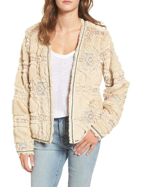 BCNI bnci embossed faux fur cardigan in cream - Flowery embossing and neat chevron trim style a cozy...