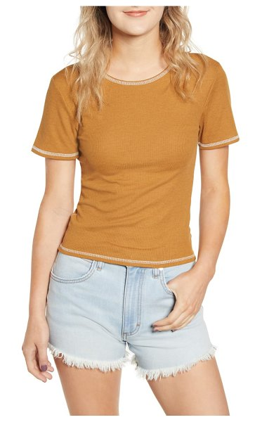 BDG contrast stitch ribbed baby tee in beige