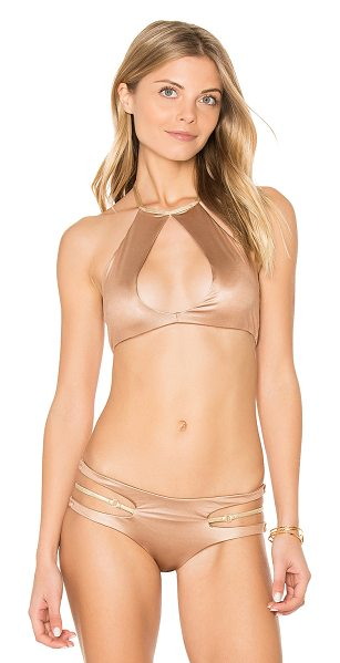 Beach Bunny Basic High Neck Keyhole Halter Top in brown - 80% poly 20% lycra. Hand wash cold. Halter neck with tie...