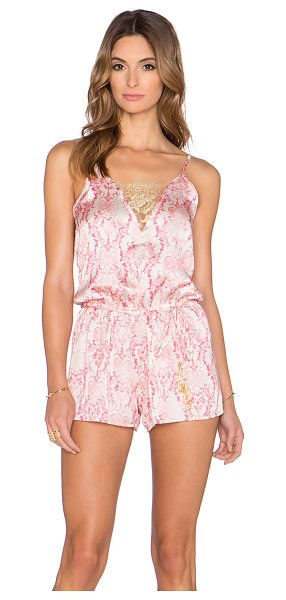 BEACH BUNNY Damascus seas romper - 100% poly. Hand wash cold. Drawstring waist. Adjustable...