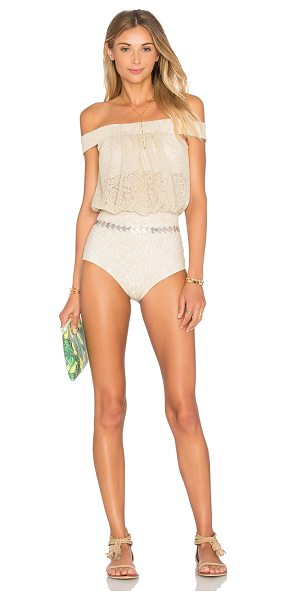BEACH RIOT x REVOLVE X A BIKINI A DAY Charlotte One Piece in metallic gold - Poly blend. Hand wash cold. Elastic stretch fit....