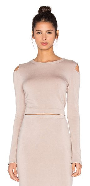 BEAUTIFUL PEOPLE Open shoulder pullover in taupe - 95% modal 5% spandex. Dry clean only. Open shoulders....