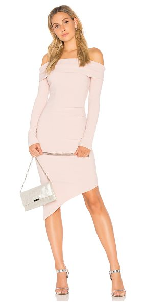 "Bec & Bridge Florence Off The Shoulder Dress in pink - ""95% poly 5% elastane. Hand wash cold. Unlined. Foldover..."