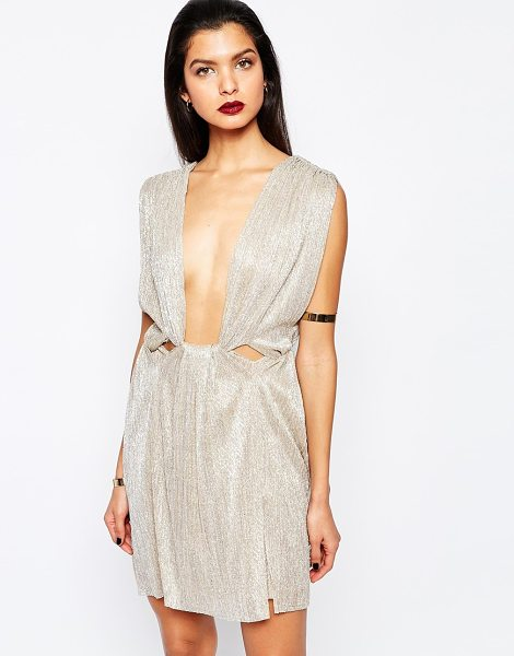 Bec & Bridge Gold dust mini dress in gold - Evening dress by Bec & Bridge Ribbed, metallic fabric...