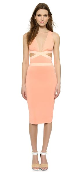 Bec & Bridge Pandoras dress in apricot - Contrast elastic bands circle the waist and form the...