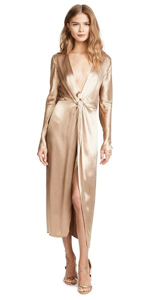 Bec & Bridge shimmy nights dress in gold - This slinky, silky Bec & Bridge dress has a plunging...