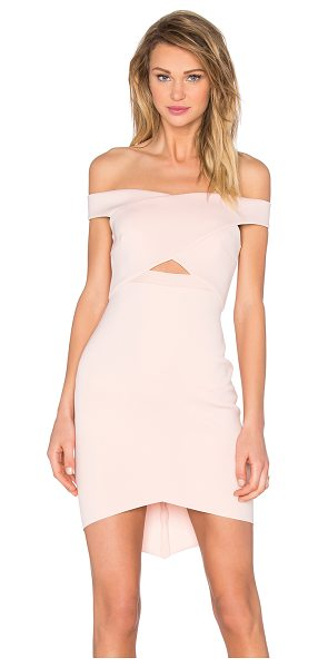 Bec & Bridge Desert of Paradise Off Shoulder Mini Dress in blush - Self: 92% poly 8% elastaneCombo: 100% poly. Hand wash...
