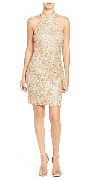 Bee Darlin embroidered halter body-con dress in gold/ rose nude - Dazzling metallic embroidery lights up the body-hugging...
