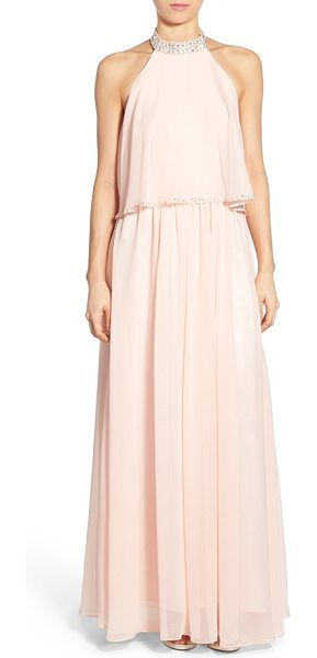 Bee Darlin gloria embellished halter gown in blush - Twinkling crystals illuminate the neckline and trace the...