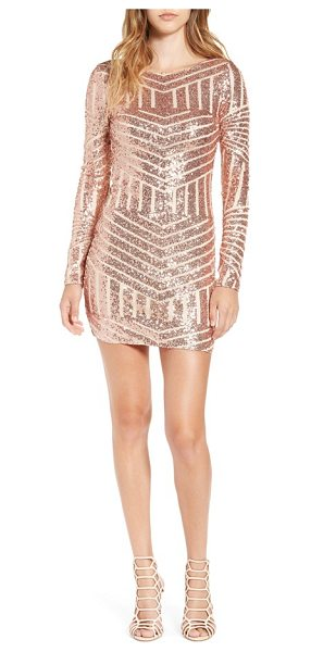 Bee Darlin long sleeve sequin body-con dress in blush - Chevron stripes rendered in rosy sequins light up a...