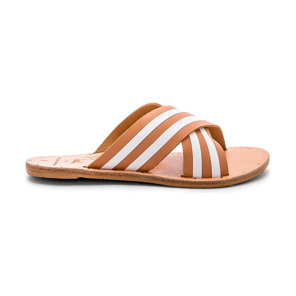 Beek Palila Sandal in cognac - Leather upper with rubber sole. Slip-on styling....