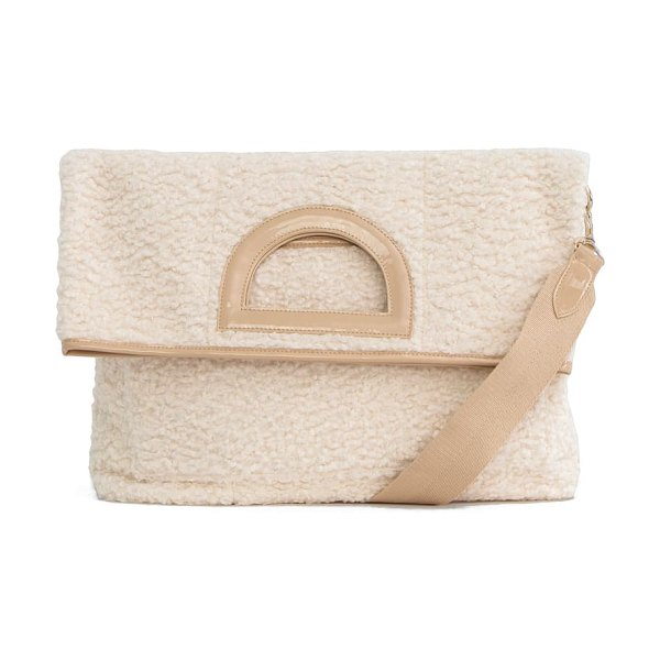 BEIS the foldover faux shearling tote in beige