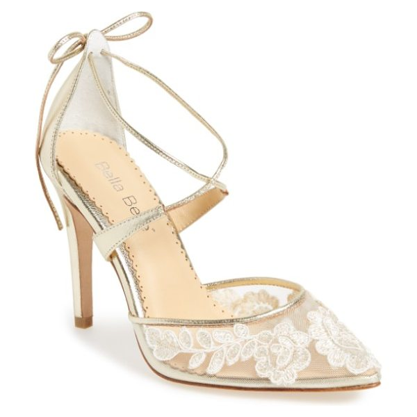 BELLA BELLE anita illusion lace cross strap pump in metallic