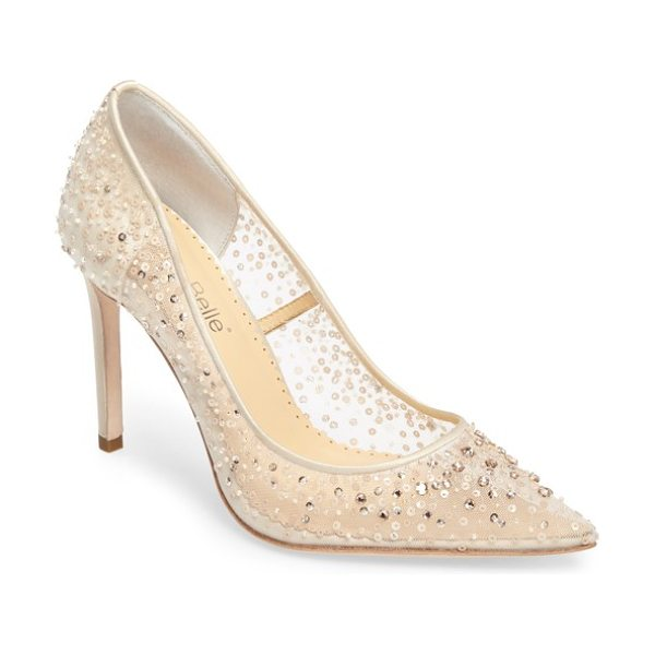 BELLA BELLE elsa beaded illusion pump in champagne silk - Sequins and crystals embellish a sheer mesh pump in a...
