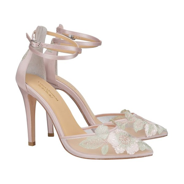 BELLA BELLE embroidered ankle strap pump in pink