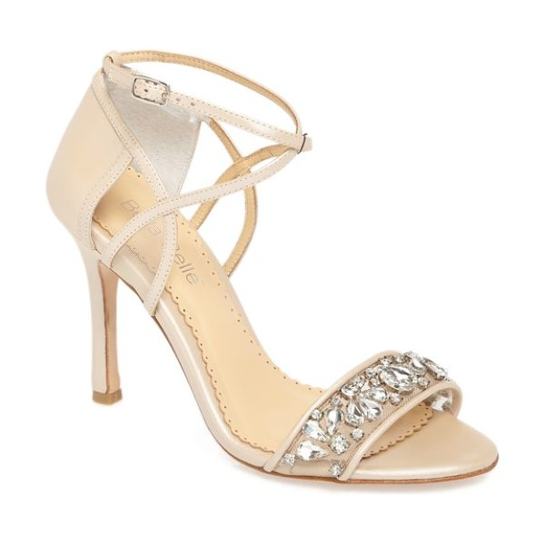 BELLA BELLE filipa embellished ankle strap sandal in nude leather - Sparkling crystals embellish an elegant evening sandal...