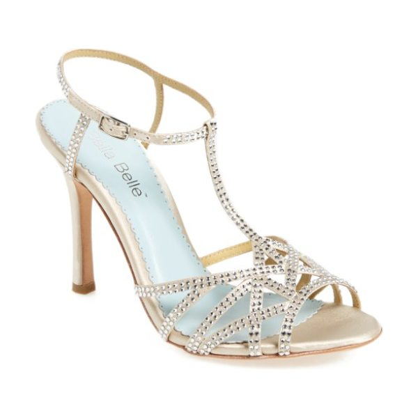 BELLA BELLE gia strappy sandal in champagne leather - Sparkling crystals embellish the straps of an...