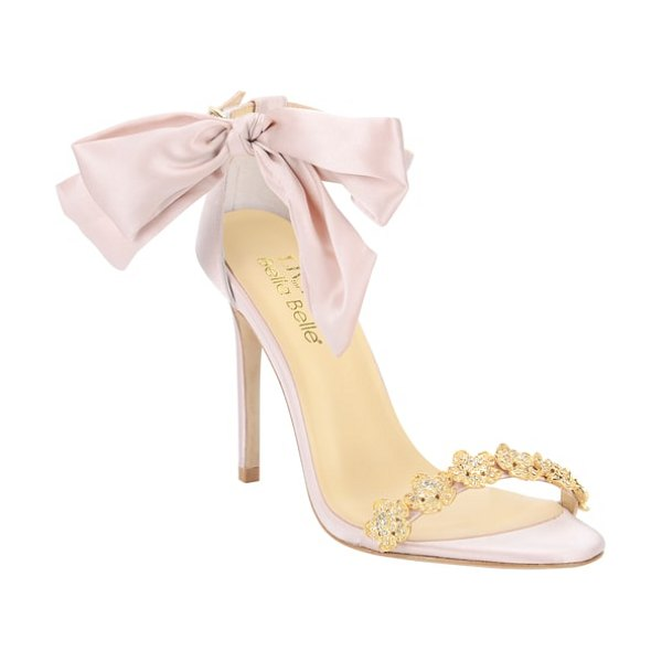 BELLA BELLE mariee embellished sandal in pink - Dew-covered blossoms formed from gleaming crystals adorn...