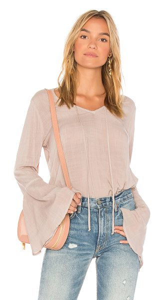 Bella Dahl Bell Sleeve V Neck Top in taupe - Rayon blend. Neckline tie closure. BLD-WS261. B2411 669...