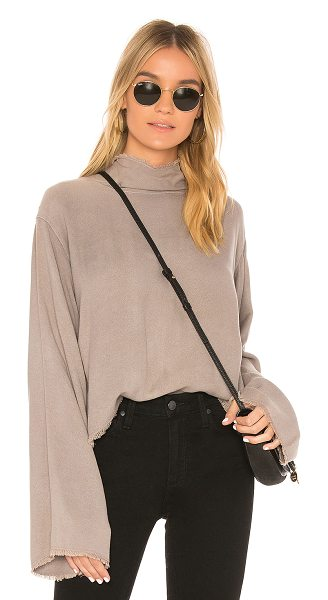 Bella Dahl Button Back Top in taupe - Rayon blend. Frayed trim. Back button closure....