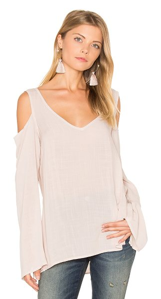 Bella Dahl Cold Shoulder V Neck Blouse in moonlit mauve - Rayon blend. Hand wash cold. Open shoulders. Side seam...