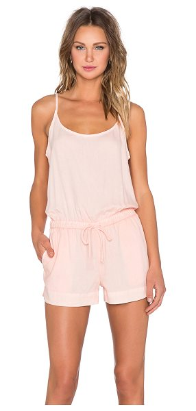 Bella Dahl Crossback cami romper in peach - 100% tencel. Elastic drawstring waist. Side seam...