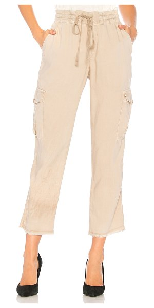 "Bella Dahl Frayed Hem Utility Cargo Pant in beige - ""Cotton/cupro blend. Elasticized drawstring waist. Side..."