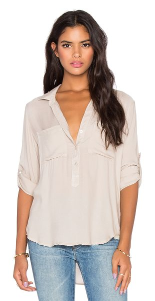Bella Dahl Long sleeve top in beige - Rayon blend. Partial front button placket. Double front...