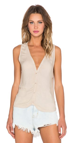 Bella Dahl Sleeveless drape back tank in tan - 100% rayon. Button front closure. Twist wrap back with...