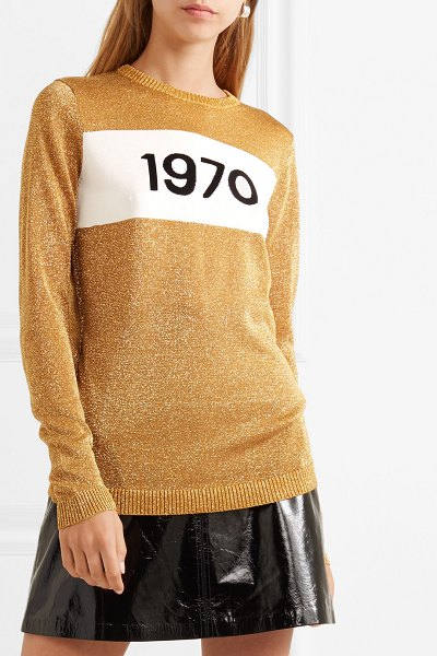 BELLA FREUD 1970 metallic knitted sweater in gold - When Bella Freud spotted the date '1970' printed in the...