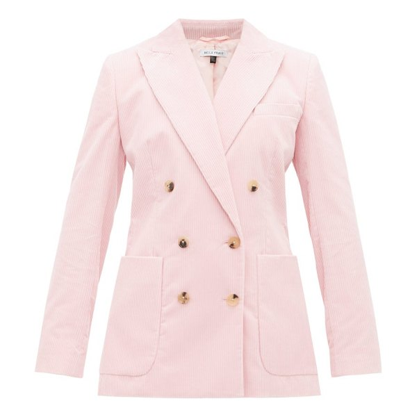 BELLA FREUD bianca double-breasted corduroy blazer in pink