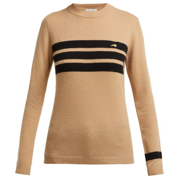 BELLA FREUD embroidered dog and stripe cashmere sweater in tan multi - Bella Freud - This biscuit-hued sweater - exclusive to...