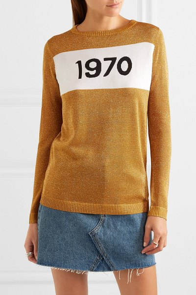 BELLA FREUD sparkle 1970 metallic knitted sweater in gold - Alexa Chung, Kate Moss and Pandora Sykes can't get...
