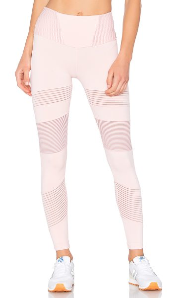 BELOFORTE Stripe Block Legging in blush - Self: 88% nylon 12% spandexContrast 1: 96% nylon 4%...