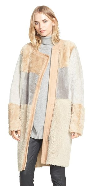 BELSTAFF corra genuine shearling coat in camel/ natural - Plush, high-pile shearling in neutral hues color-block...