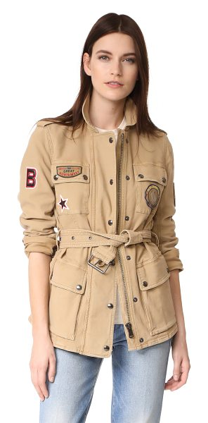 BELSTAFF hoghton cotton drill jacket in golden sandstone - A military-inspired Belstaff jacket composed of soft,...