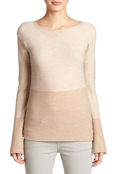 BELSTAFF Knit colorblock top in antiquebeige - A luxe ribbed fabric blend shapes this polished boatneck...