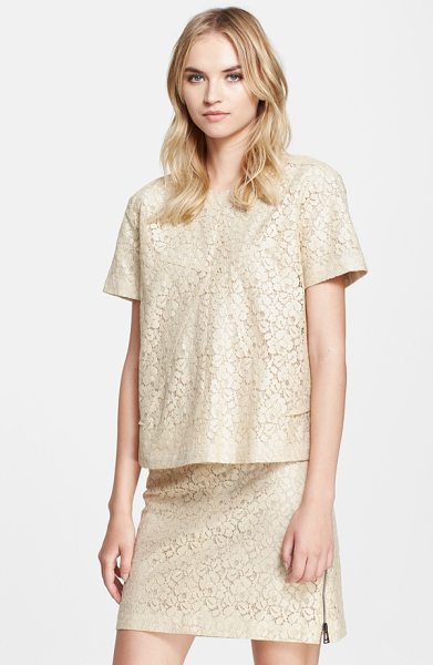 BELSTAFF olive coated lace short sleeve top - A subtly lustrous coating reinforces a fine lace top,...