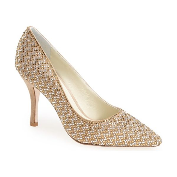 Benjamin Adams London martinque pointy toe pump in nude suede/ topaz - A twinkling array of crystals catches the light on a...