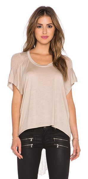 BENJAMIN JAY B shred tee in tan - 100% tencel. Dry clean only. Contrast sides. BENJ-WS6....