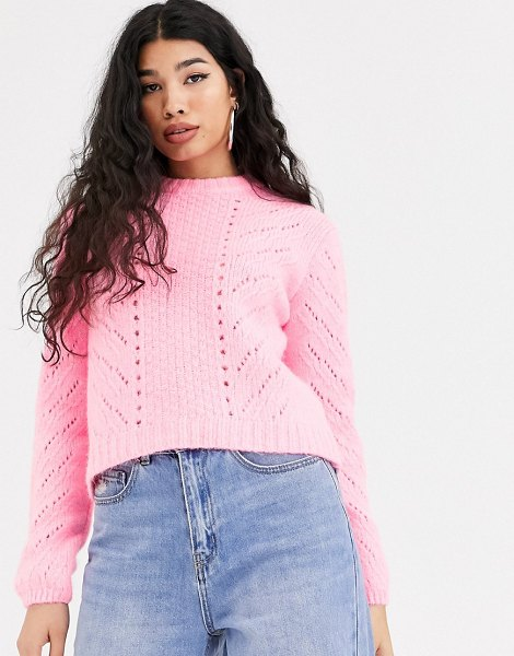 Bershka cable knit sweater in pink in pink