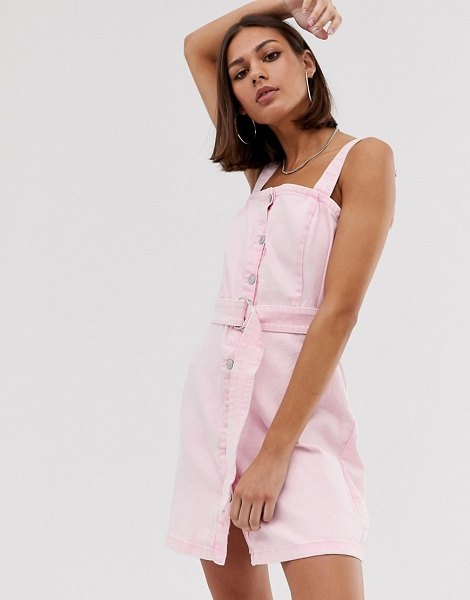 Bershka denim pini dress in pink in pink