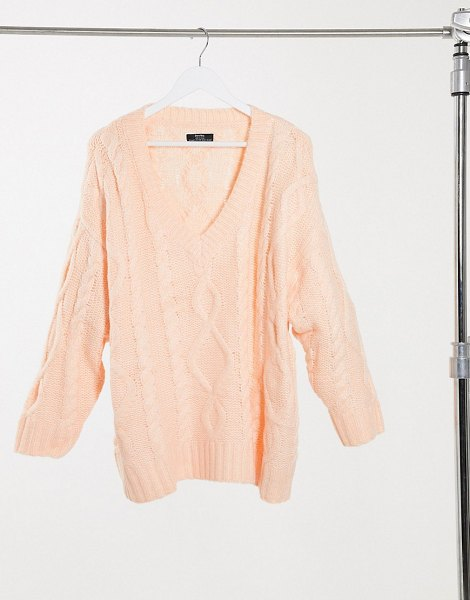Bershka oversized cableknit sweater in peach-pink in pink