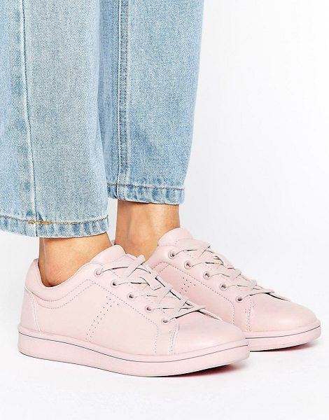 Bershka Pastel Lace Up Sneaker in pink - Sneakers by Bershka, Faux-leather upper, Lace-up...