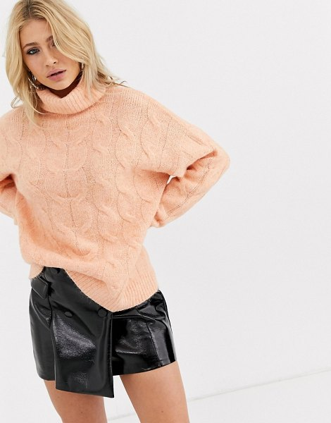 Bershka roll neck cable knitted sweater in salmon-pink in pink